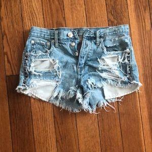 Distressed American Eagle festival shorts